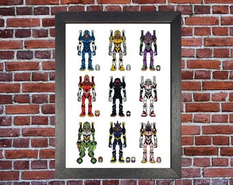 Evangelion Eva Unit Pixel Print A3