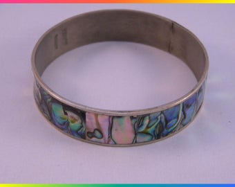 Vintage Abalone & Alpaca/Nickel Silver Bracelet/Bangle, Mexico, Mixed Materials
