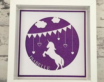 Personalised Papercut Unicorn Box Frame - New Baby, Birthday, Keepsake Gift