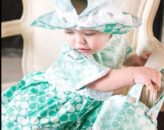 Light Green Polka Dot Josi-Nor Easter/Summer Handmade Dress with Purse and Matching Hat (Size 1T,2,3t,4t)
