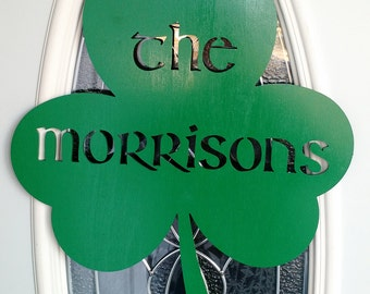 "St. Patrick""s Day Shamrock Door Wall Hanging Personalized"