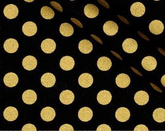 Handmade Table Runner, Choose your Length, Black w/Gold Metallic Polka Dots, Home Decor