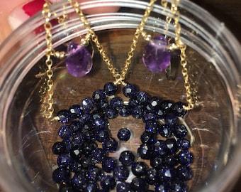 Handmade Amethyst and Blue Sandstone Chandelier Hook Earings in 14k Gold Filled