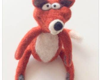 Plush Fox felted wool/plush Fox wool felted