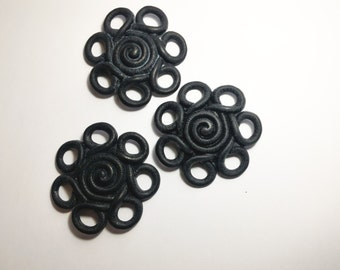 Abs black flower-decoration-wall flower pendant-Black Sun 3 pieces
