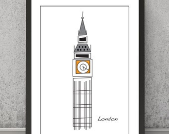 Big Ben print Big Ben poster Big Ben art London Big Ben Big Ben wall decor London print London poster London wall art Big Ben wall art