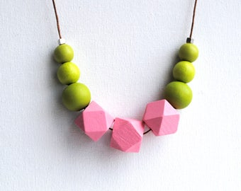 Geometric Necklace, Boho necklace, Statement Necklace, Bohemian Jewelry, Handmade necklace, Wooden necklace, Pink Green Hexagon