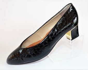 Bally Black Patent Leather Court (Pumps) Crocadile Style Shoes Medium Heel with Gold Trim Size UK 5.5 1980's