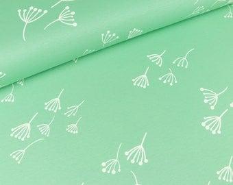 Cotton Jersey/interlock Kenny dandelions on white green (16,00 EUR / meter)