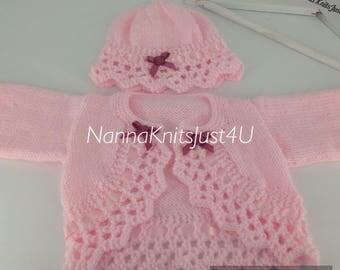 Handknitted baby girl bolero cardigan hat set 0-3 months