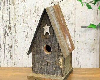 Tall Rustic Wooden Birdhouse With Tin Roof & Star (3 Assorted Colors) Natural, White, Brown