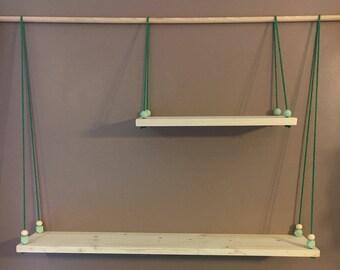 Swing 2 shelf levels colorful rope