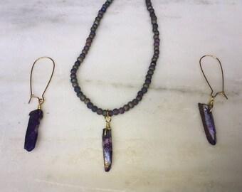 Purple Irridescent Jewelry Set