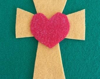 Felt Cross with Heart Ornment