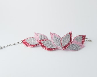 felted bracelet, felted leaves bracelet, pink burgundy gray leaves, female bracelet