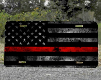 Thin Red Line American Flag 6x12 Metal License Plate