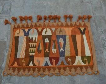 3'3 x 2 FT Afghan Handwoven wall hanging rug, 100% wool
