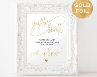 Guest Book Gold Foil Wedding Sign - Reception Signage - Gold Foil Guest Book Printable - Guest book sign printable in gold foil - #WDH09908