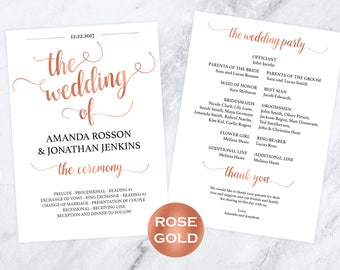 Wedding Program Template - Rose Gold Wedding Program - PDF Wedding - Editable Program - Wedding Printable -  Downloadable Wedding #WDH812231