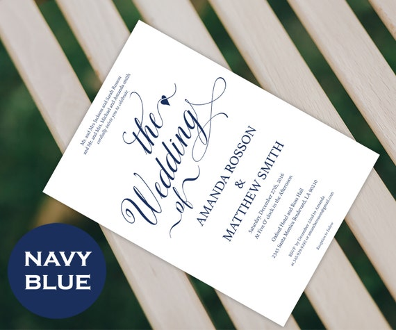 Wedding Invitation Templates - Rustic Invitation - Printable Wedding Invitations - Navy Blue - Editable File - Downloadable Wedding #WDH0180