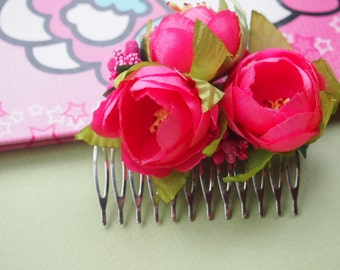 Pink Flower Hair Comb, hair accessory, morninglorias, hair comb