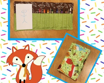 Crayon roll with place for small pad of paper