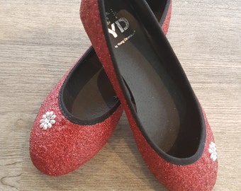Girls red glitter shoes size UK 2 EUR 35 US 4
