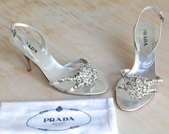 Prada Metallic Argento Jewel Embellished Slingback Sandals Size 37