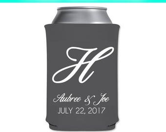 Monogram Can Coolers,Can Coolers,Wedding Can Coolers,Wedding Favor,Wedding Favors,wedding,weddings,bride,groom,party,parties,celebrations