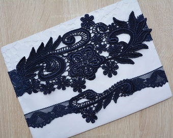 Bridal Garter, Dark Blue Garter, Wedding Garter, Blue Lace Garter, Bridal Garter Set, Something Blue, Wedding Garter Blue, Handmade Garters