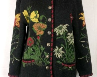 Geiger sweater, floral design, poppies, lilies, Wool, Vintage, Size 38