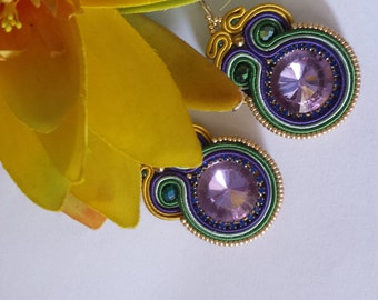 soutache earrings violet