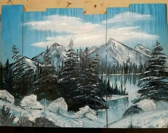 Handpainted winter mountain lake scene on pallet type wood