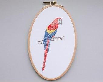 Bird image - embroidered ARA in the hoop