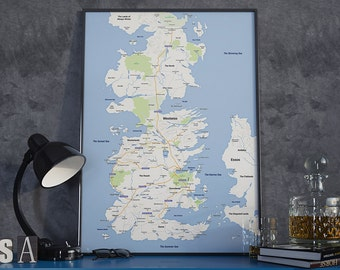 Modern Westeros Map - Poster, Game of Thrones, Google Maps