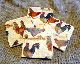 Chicken/Hen Natural Stone Coaster