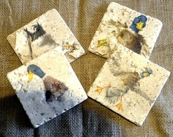 Set of Four Duck Natural Stone Coasters