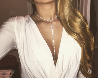 Silver Rhinestone Choker / Diamond Body Chain / Diamond Choker / Wholesale Chokers / Lariat Necklace / Long Necklace / Diamond Choker