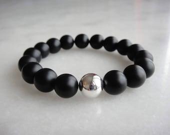 Silver onyx bracelet, mens beaded bracelet