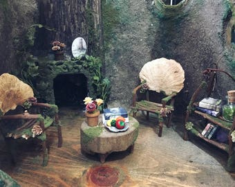 Faery House with Furniture - fairy house - handmade by thefaeryforest