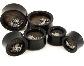 "Ebony + Copper & Silver ""splat"" Wood plugs | Organic Plugs | 22mm 7/8"" |  26mm 1"" | 32mm 1-1/4"""