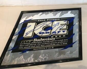 "Vintage 1993 Anheuser Busch Budweiser Beer Ice Draft Framed Mirror Sign Parallelogram, 28.5"" X 38.75"" diagonal"