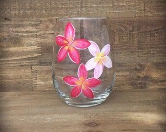 Hand painted Hawaiian plumeria flower stemless wine glass
