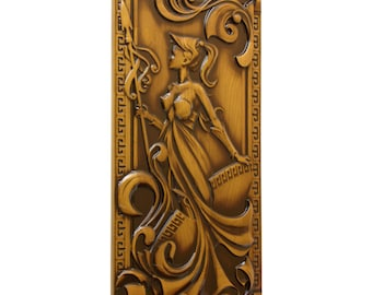 Decoartive WOODEN WALL PANEL Wood relief picture Sculpture wall art Engraved wood panel Wood relief carving Carved wall hanging
