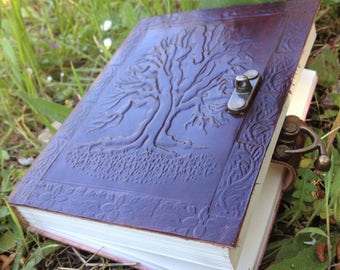 Leather Journal - Tree of Life Notebook - Rustic Journal - Handmade Embossed Journal -  Leather Travel Book - Leather Sketchbook -
