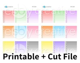Rainbow Ombre Heart Checklist Boxes - Digital Files for Erin Condren Horizontal Planner Sticker Printable INSTANT DOWNLOAD - HK-034