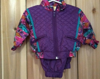 VINTAGE KIDS: 90s 2 piece track suit / rain gear, 12 m