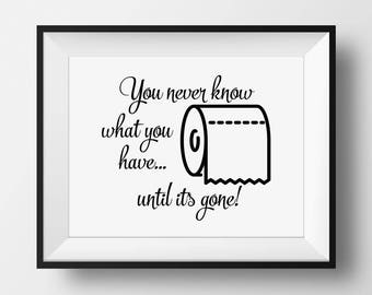 Toilet Wall Art, Toilet Paper Gone, Funny Bathroom Sign, Bathroom Wall Decor, Bathroom Printable, Toilet Sign, Funny Water Closet Sign