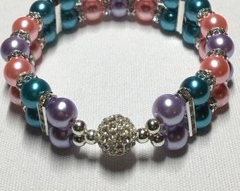Double banded Rhinestone ball (colorful)