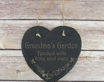 Father's Day Gift Personalised Grandma's Garden Slate Hanging Sign Plaque Gift